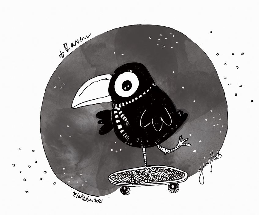 Raven, la piccola skater! (inktober 2021)